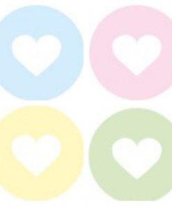 sluitsticker hart pastel, ronde sticker pastel hart