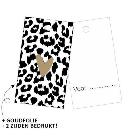 cadeau label cheetah hartje goud, kadolabel cheetah, kadotag,