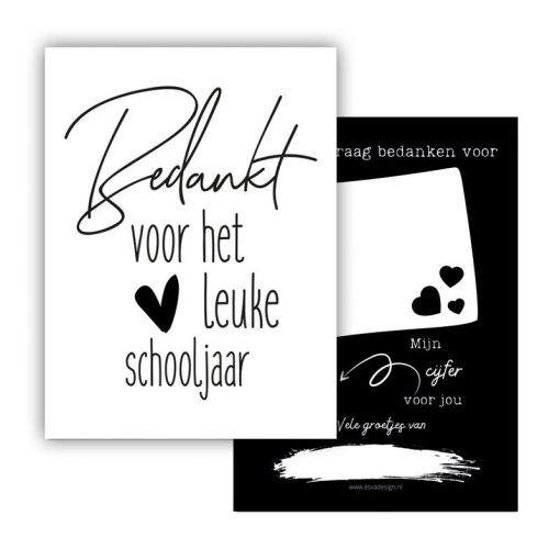mini kaartje, bedankt schooljaar, bedankt voor dit leuke schooljaar