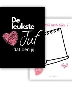 mini kaart de leukste juf zwart hart roze