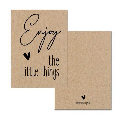 mini kaartje enjoy, enjoy the little things