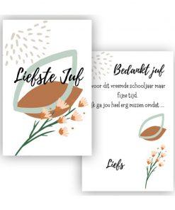 kaart liefste juf bloem groen