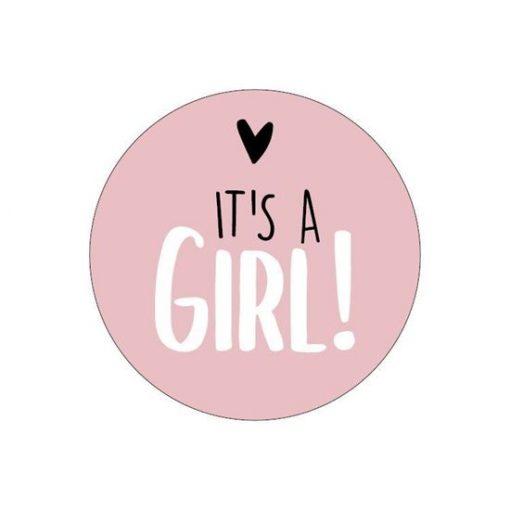 Sluitsticker it's a girl, sluitsticker meisje geboren