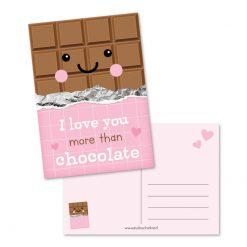 kaart I love you more than chocolate, kaart studio schatkist, cadeau chocolade