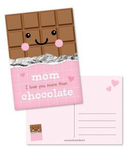 kaart Mom i love you more than chocolate, kaart mama, chocolade cadeau