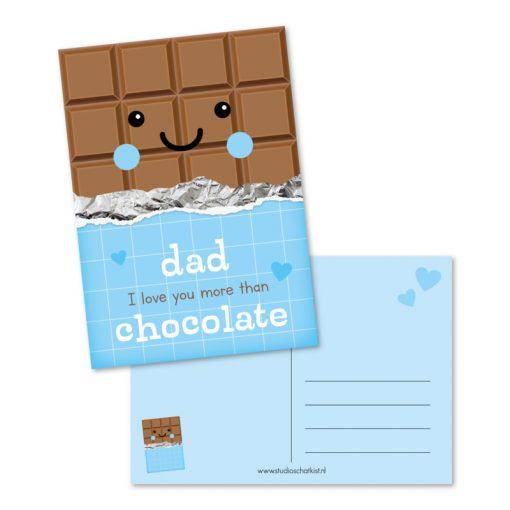 Kaart Dad i love you more than chocolate, kaart papa, chocolade cadeau