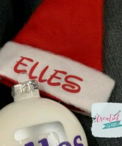 kerstmuts mini met clip, kerstmuts haarclip, kerstmuts met naam, kerstmuts rood