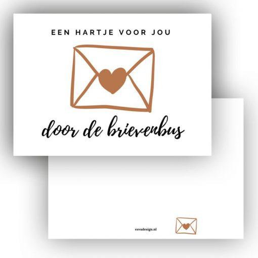 mini kaartje een haart voor jou door de brievenbus
