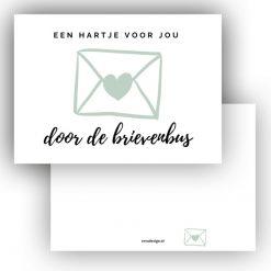 minikaart hartje voor jou door de brievenbus