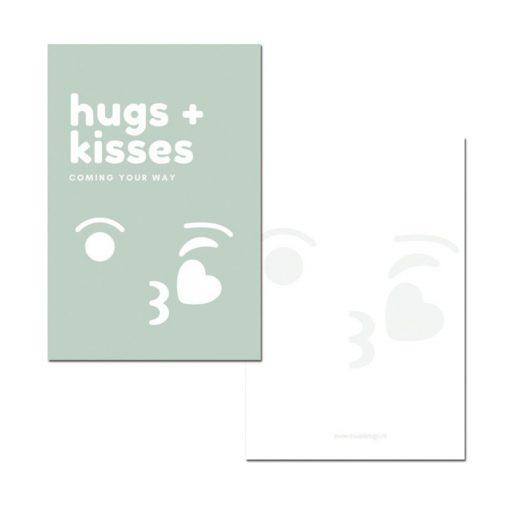 minikaart hugs + kisses groen