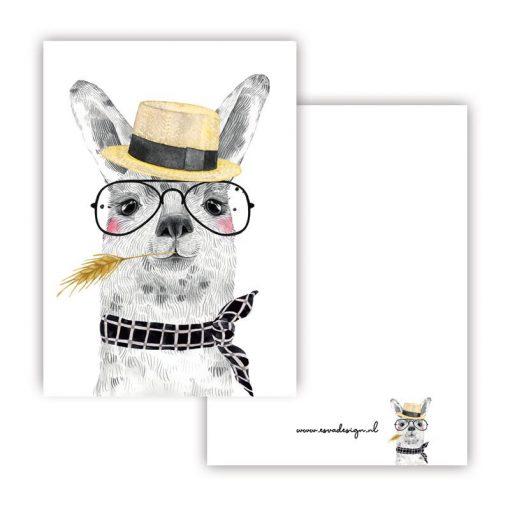 mini kaartje lieve diertjes, mini kaartje lieve lama jongen