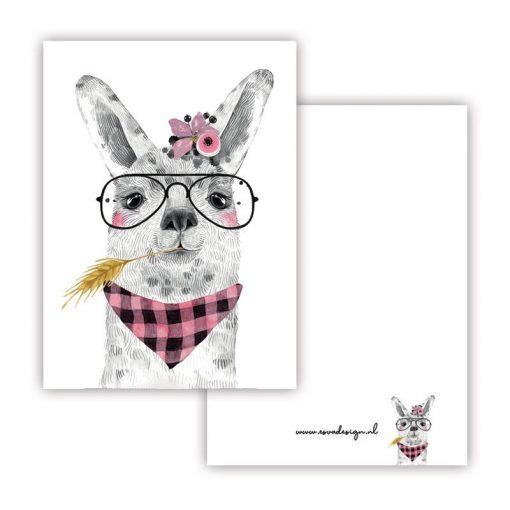 mini kaartje lieve diertjes, mini kaartje lieve lama meisje