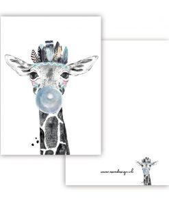 mini kaartje lieve diertjes, mini kaartje giraf jongen
