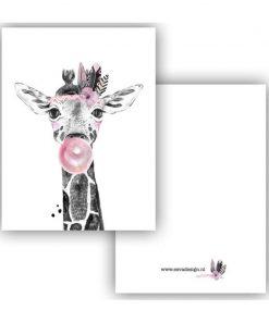 mini kaartje lieve diertjes, mini kaartje lieve giraf