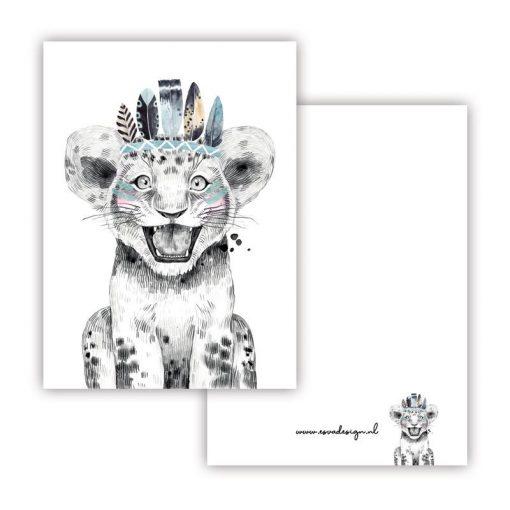 mini kaartje lieve diertjes, mini kaartje lieve leeuw jongen