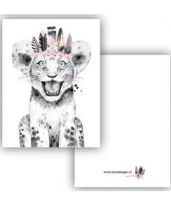 mini kaartje lieve diertjes, lieve leeuw meisje