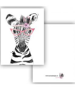 mini kaartje lieve diertjes, mini kaartje lieve zebra meisje