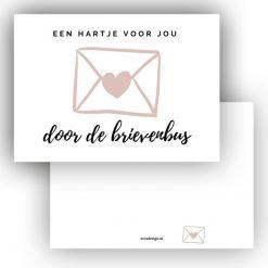mini kaartje hartje voor jou door de brievenbus