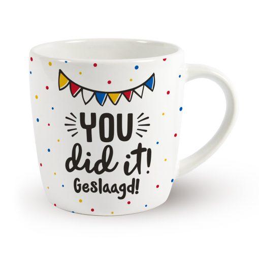 mok you did it! geslaagd, mok geslaagd, mok examen, cadeau examen, cadeau rijbewijs