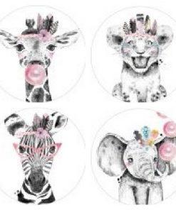 sluitsticker lieve diertjes roze