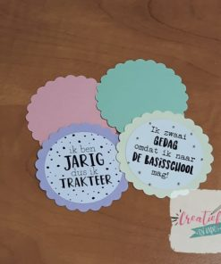 traktatie labels pastel kleuren, traktatie labels geschulpt