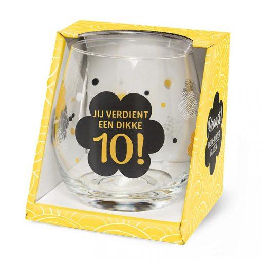 water- wijnglas dikke 10, jij verdient een dikke 10. cadeau juf, cadeau meester