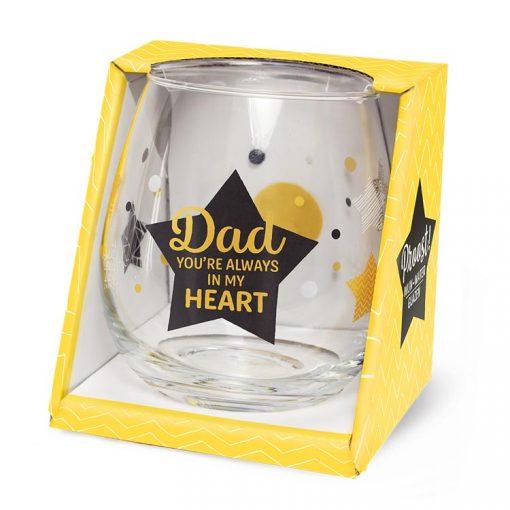 water- wijnglas dad, dad you're always in my heart, cadeau papa, cadeau Vaderdag