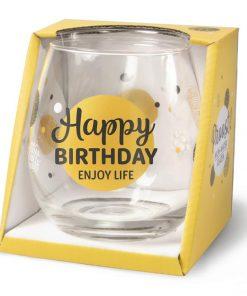 water- wijnglas happy birthday, glas verjaardag, cadeau verjaardag,