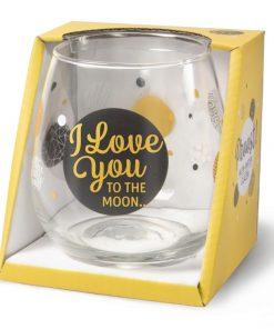 water- wijnglas i love you, waterglas i love you, wijnglas i love you, i love you to the moon and back, cadeau valentijnsdag