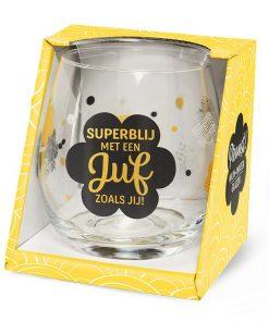 water- wijnglas juf superblij, superblij met een juf zoals jij, cadeau juf, waterglas juf, wijnglas juf
