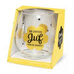 water- wijnglas liefste juf, de liefste juf van de wereld, cadeau juf, cadeau einde schooljaar, waterglas juf, wijnglas juf