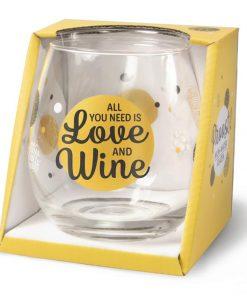 water- wijnglas love, all you need is love and wine, cadeau man ,cadeau vrouw, wijnglas love, waterglas love, cadeau samenwonen