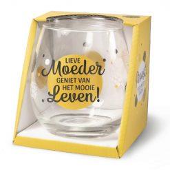 water- wijnglas moeder, lieve moeder geniet van het mooie leven, cadeau mama, cadeau Moederdag, wijnglas moeder, waterglas moeder