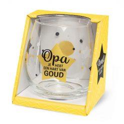 waterglas opa, wijnglas opa goud, opa je hebt een hart van goud.