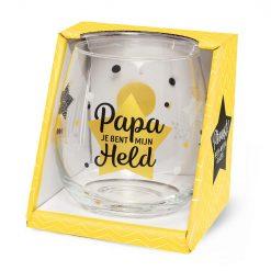 water- wijnglas papa mijn held, papa jij bent mijn held, cadeau papa, cadeau Vaderdag
