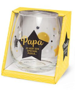water- wijnglas papa, papa jij hebt een speciaal plekje, cadeau vaderdag