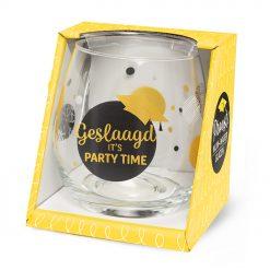 water- wijn glas geslaagd party time, geslaagd it's party time, waterglas geslaagd, wijnglas geslaagd, examen cadeau