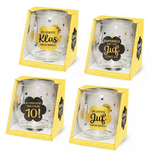 water- wijnglas school, waterglas juf en meester, wijnglas juf en meester, cadeautje einde schooljaar