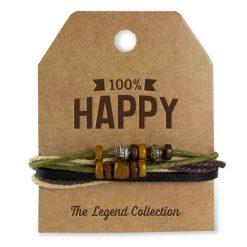 leren armband happy, 100% happy, stoer cadeau, cadeau man, cadeau voor hem, cadeau vaderdag