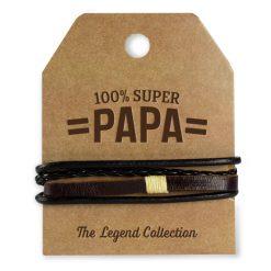 leren armband papa, leren armband super papa, 100% super papa, cadeau Vaderdag, stoer cadeau, cadeau man