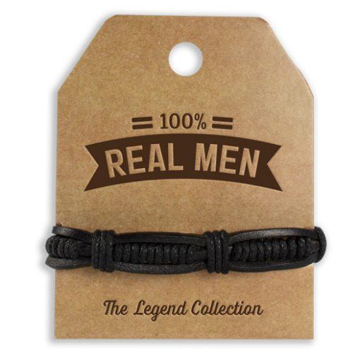 leren armband real men, 100% real men, stoer cadeau, cadeau man, cadeau voor hem