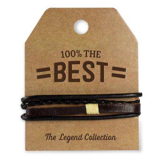 leren armband 100% the best, leren armband the best, cadeau man