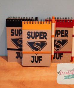 notitieboekje superjuf of supermeester, notitieklappertje, cadeau juf, cadeau meester, super Juf, super meester