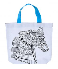 kleur je eigen tas paard, diy creatief