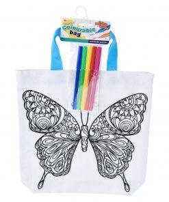 kleur je eigen tas vlinder, diy creatief
