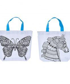kleur je eigen tas vlinder, kleur je eigen tas paard, Diy creatief, canvas tas