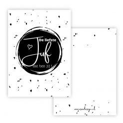 minikaart de liefste juf, kaart juf, cadeaukaartje juf