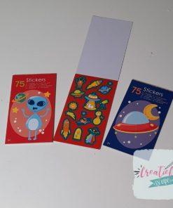 stickerboekje ruimtevaart, ruimte traktatie, traktatie jongen