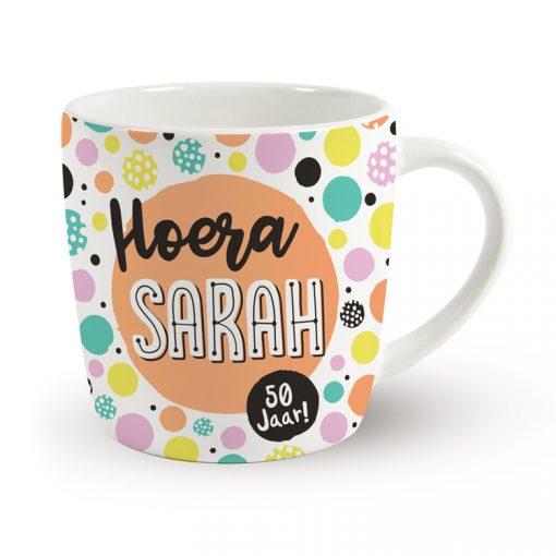 verjaardagsmok, mok verjaardag, hoera sarah