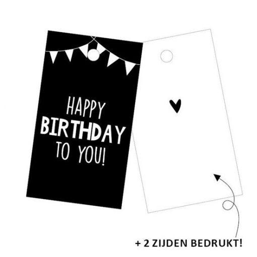 cadeaulabel happy birthday, kadolabel happy birthday to you, kadolabel verjaardag
